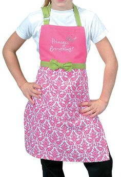 Princess of Everything Apron Little Girls Cook Chef Pink Green Fun in Kitchen