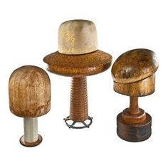Set Of Three Antique Hat Forms On Industrial Bases 2 - Relique Fantasy Rooms, Decorative Objects, Living Spaces, Industrial, Place Card Holders, Antiques, Hats, Wood, Accessories