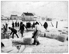 The ice blocks from Lake Hubert were cut at the Northeast corner of the lake near what was later the Lake Hubert Store, the railroad depot and the Hubert/Clark channel.