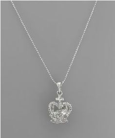 Silver Crown Charm Necklace with trapped faceted crystal inside! www.crownchic.com