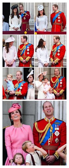 The Duke and Duchess of Cambridge on the balcony of Buckingham Palace for the annual Trooping the Colour parade over the years, 2011 - 2017