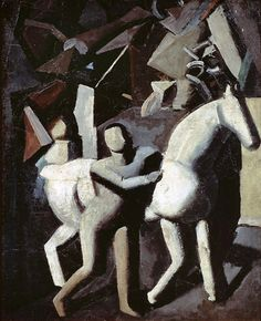 ((Truly one of my favorite paintings)) Mario Sironi - The White Horse (Il cavallo bianco), 1919. Oil on canvas, 79 x 59 cm. Gianni Mattioli Collection. Long-term loan to the Peggy Guggenheim Collection, Venice, Italy