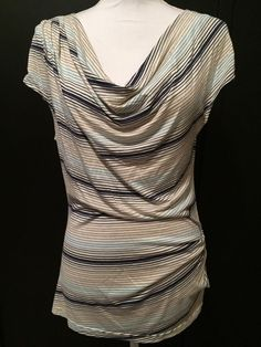 Max Studio L Blue Striped Cowl Neck Knit Top Cap Sleeve Rayon Career Casual #MaxStudio #KnitTop