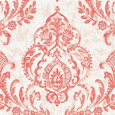 """Coral Painted Damask Fabric by Carousel Designs. Coral painted damask fabric printed on antique white background. Fabric is cut to order in one continuous piece. This is an organic 100% cotton, 58"""" wide, medium weight fabric."""