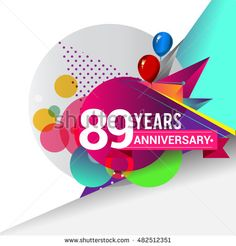 89 Years Anniversary logo with balloon and colorful geometric background, vector…
