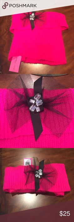 Adorable Betsey Johnson Hot Pink Scarf!New/Tags‼️ Betsey Johnson hot pink pull over scarf ! NEW WITH TAGS ! NEVER WORN Betsey Johnson Accessories Scarves & Wraps