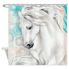 Andalusian Horse Blue Shower Curtain
