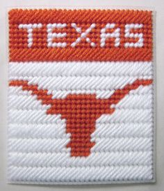 Texas Longhorns tissue box cover in plastic by AuntCCcreations Plastic Canvas Coasters, Plastic Canvas Tissue Boxes, Plastic Canvas Crafts, Plastic Canvas Patterns, Plastic Craft, Football Crafts, Kleenex Box, Canvas Designs, Tissue Box Covers
