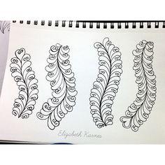 Feather doodles, Elizabeth Karnes at http://instagram.com/lizzy_jo_quilts