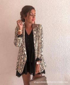 df9932ef2015 New Women Blazers Long Sleeve Blazer Feminino Snake Skin Print Outerwear  Officeuotelab