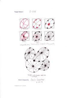 Zentangle-Pattern 'O-Cee' by Chris Gerstner CZT , presented by www. Tangle Doodle, Tangle Art, Zen Doodle, Doodle Art, Zentangle Drawings, Doodles Zentangles, Doodle Drawings, Doodle Patterns, Zentangle Patterns