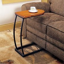 Sofa Snack Table Tv Tray Slide Under Couch Wooden Side End Coffee Drinks Brunch