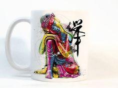 Buddha coffee mug / buddha mug / Printed by StainedGlassHandmade