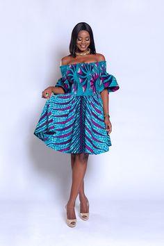 Ankara off-shoulder elastic-dress African print dress