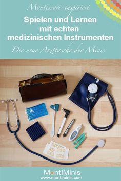 Montessori inspired: Our doctor's bag - play and learn with real medical instruments. Homemade by Montessori. Montessori at home. Montessori Baby, Doctor For Kids, Diy Projects To Sell, Instruments, Infant Activities, Jouer, Baby Room, Hand Weaving, Kids Room