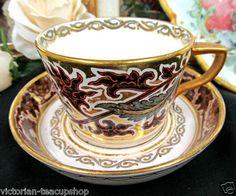 ANTIQUE MINTON 1880'S TEA CUP AND SAUCER PAINTED GOLD GILT MINTONS DEEP SAUCER