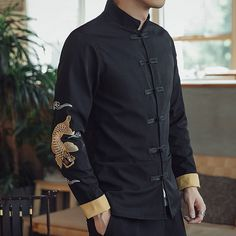 Nice Embroidery Frog Button Chinese Tang Jacket - Carp, Chinese Jackets & Coats for men, color: Black, Mandarin Collar, For ocdcasion: Casual Camisa China, Stylish Mens Outfits, Chinese Man, Cafe Style, Chinese Clothing, Street Outfit, Mens Fashion, Fashion Outfits, Mandarin Collar