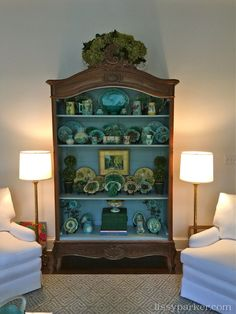 A large majolica collection pops in this painted antique cabinet. - March 16 2019 at Victorian Furniture, Victorian Decor, Antique Furniture, Painted Furniture, Rustic Furniture, Outdoor Furniture, Antique Sofa, Antique Decor, Antique Kitchen Cabinets