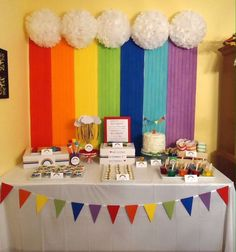 Cool backdrop at a rainbow birthday party! Cool backdrop at a rainbow birthday party! Rainbow Unicorn Party, Rainbow Birthday Party, Rainbow Theme, Unicorn Birthday Parties, First Birthday Parties, First Birthdays, 2nd Birthday, Birthday Table, Rainbow Baby