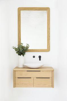 Bathroom Trend: Timber Vanities — Adore Home Magazine Timber Bathroom Vanities, Timber Vanity, Wooden Bathroom, Bathroom Interior, Bathroom Colors, Bathroom Sets, Small Bathroom, Master Bathroom, Toilet Storage