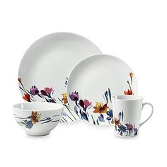 Mikasa® Gourmet Basics Watercolors 16-Piece Dinnerware Set: Gourmet Basics by Mikasa® Watercolors Dinnerware features a beautiful watercolor floral pattern that brightens up your table. Porcelain dinnerware is perfect for casual dining or entertaining.