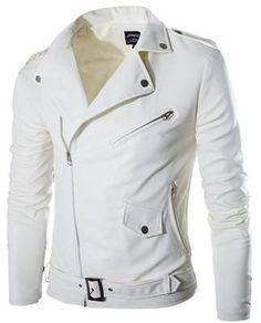White Pu Leather Jacket Mens Slim Fit Motocycle Biker Jacket Stylish Zipper Jaqueta De Couro Masculina Color Black Size S Pu Jacket, Men's Leather Jacket, Leather Men, White Leather, Jacket Men, Leather Jackets, Leather Collar, Suede Jacket, Leather Coats