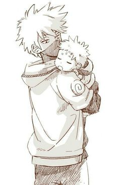Okay young kakashi and baby naruto are just perfect
