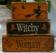 Primitive Witchy Woman Shelf Sitter Blocks Halloween Fall Antiqued Hand Painted Wood by CarolAnnsTole.etsy.com