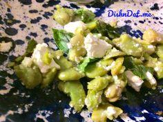 Fresh fava beans with OO, salt and crumbled feta.
