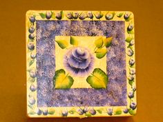 Antiqued purple rose painted on a jewelry box.  One Stroke Painting by Susan Earl.