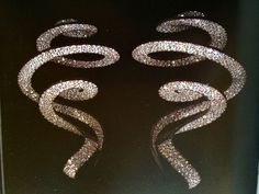 JAR -ribbon pendant earrings diamond silver and gold