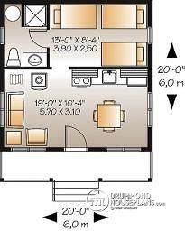 400 sq. ft -- swap bathroom & bedroom around so water pipes line up easier. & done!