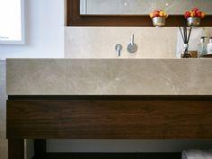 Windsor Bathroom 3 - St James Interiors - Walnut vanity unit with crema classic marble worktop. Vanity Design, Saint James, Vanity Units, Windsor, Bathrooms, Sink, The Unit, Marble, Interiors