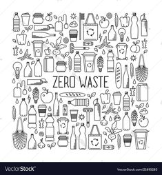 Line art collection of eco and waste elements - Royalty-free Recycling stock vector Web Design, Graphic Design, Business Names, Free Vector Art, Image Now, Zero Waste, Line Art, Monochrome, Concept