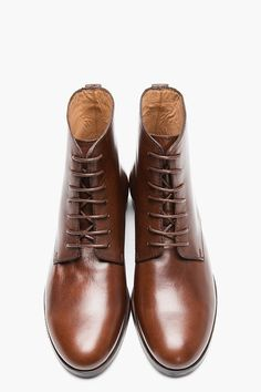 A.P.C. Brown Leather Western Derby Boots