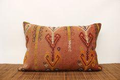 Red colors Lumbar kilim pillow 16 x 24 Ethnic by kilimwarehouse, $72.00