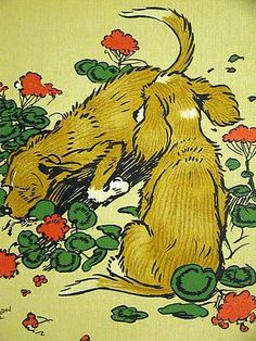 Cecil Aldin TWIN PUPPIES DIGGING UP the GARDEN 1910