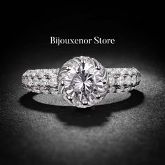 Ring engagement emerald cut solitaire diamond by BijouxenorStore Diamond Solitaire Rings, Ring Engagement, Emerald Cut, Swarovski, Sterling Silver, Crystals, Jewelry, Estate Engagement Ring, Engagement Ring