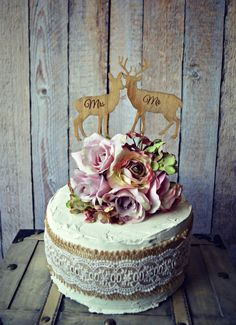 deer-bride-groom-wedding-cake by MorganTheCreator on Etsy