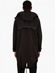 OAMC,Black Fishtail Hooded Parka Coat,BLACK,2