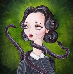 Fine Art Pop Surrealism Original Art Painting. Lady With by rivoh