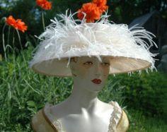 Kentucky Derby Hat, Ladies Straw Hat, Peach Hat