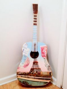 Paris Themed Acoustic Wall Guitar 2  Eiffel Tower by EmmasGuitars, $274.00 - I want this for my bedroom!