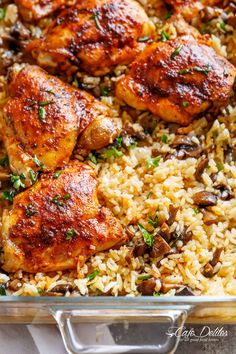 Oven Baked Chicken And Rice with ALL the chicken flavours baked right in! Dinner doesn't get any easier! | https://cafedelites.com