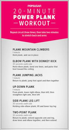Love the effective plank exercise? Target your core and upper body with a 20-minute workout combining six different dynamic variations of the classic move. Before you get started, learn all the details for each variation here.