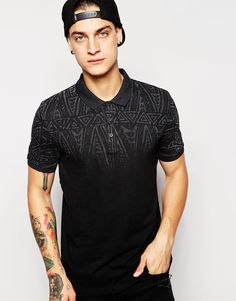 Image 1 of ASOS Pique Polo With Aztec Print