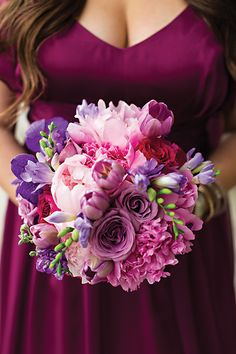 purple with pink accent bouquet