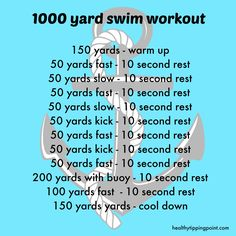 1000 Yard Swim Workout from Healthy Tipping Point Swimming Drills, Swimming Tips, Lap Swimming Workouts, Swimming Practice, Competitive Swimming, Triathlon Training, Training Plan, Strength Training, Sports Training