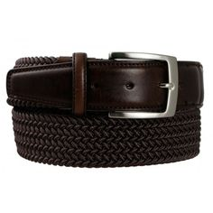 Cintura elasticizzata in cotone intrecciato, comoda e confortevole, con dettagli su punta e fibbia in vera pelle effetto invecchiato.