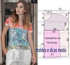 Sewing Pattern / T-shirt Dress Tutorials, Sewing Tutorials, Blouse Patterns, Clothing Patterns, Fashion Sewing, Diy Fashion, Fashion Tips, Robe Diy, Costura Fashion